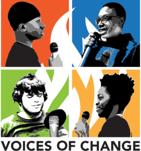 Logo - Voices of Change. Four stylized images of youth speaking at microphones